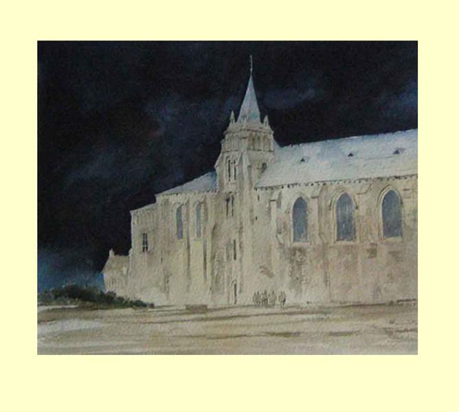 203 Eglise Cunault II, Loire Valley, France. 30 x 25cm NFS