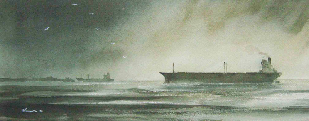 227 Riding High - Awaiting Harbour Clearance. 51.5 x 21.5cm