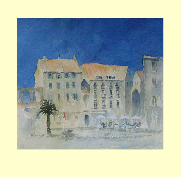 244 Cafe - Hot Day coming for Port Vendre, France. 19 x 17cm £90