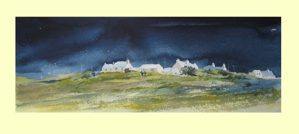 278 Brittany - a study in blue & yellow 36 x 13 cm £145
