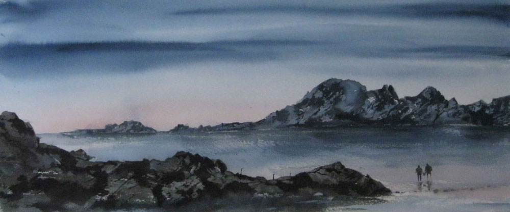 282 Skye- Dusk towards the Coullins 54 x 22.5cm