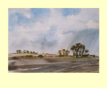 285 Lincolnshire - Rain Beyond the Ploughed Fields of Autum- 35 x 25cm £330
