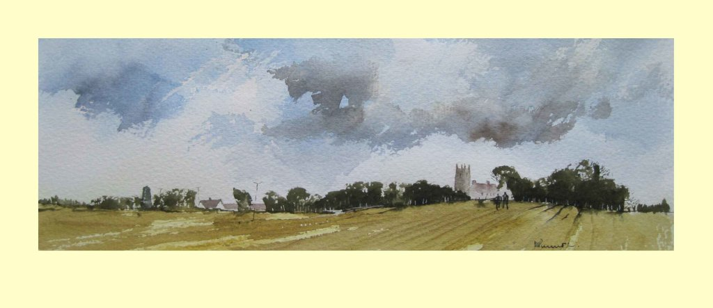 287 All Saints, Wragby across the harvest fields 35 x 13cm