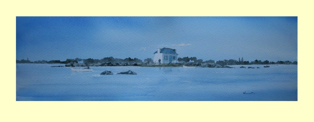 327 Calm at St Cado, Brittany 53 x 16cm SOLD