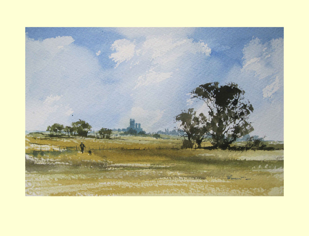 379 Lincolnshire - Cathedral, Man & Dog 26 x 17cm £180