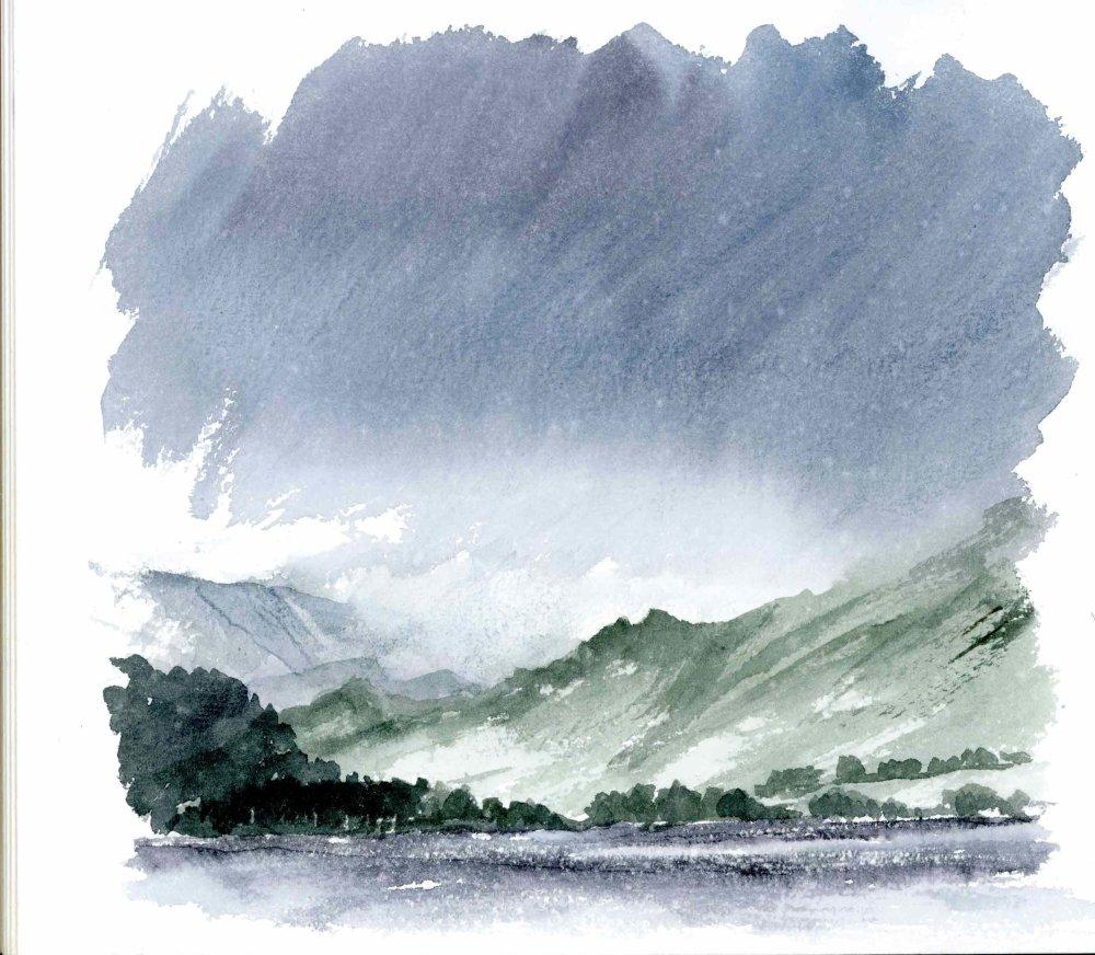 Clouds & Ullswater in the Rain. Sketchbook 41 [21]
