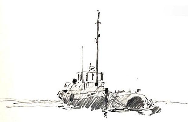 Thames tug at Greenhithe. Sketchbook 65[62]
