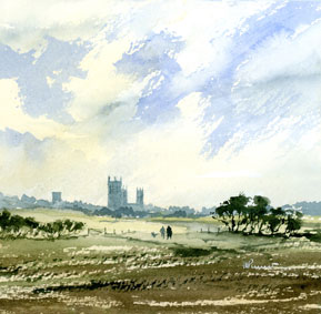 340 Sentinal of the Lincolnshire Landscape Across the Fields 17 x 15cm