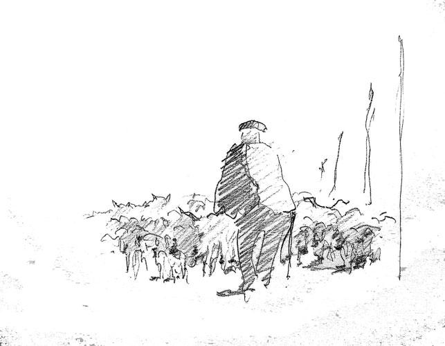 Shepherd and his flock. Sketchbook 59[109]