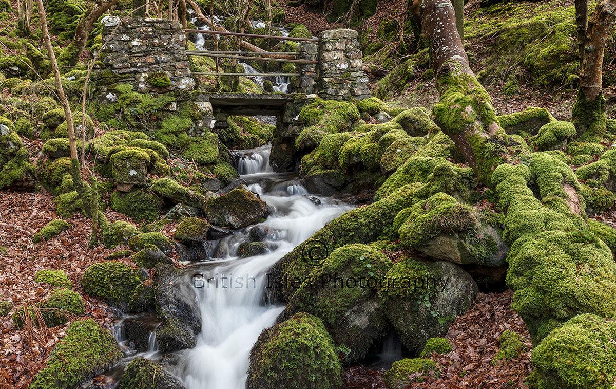 Old Footbridge Over Waterfall
