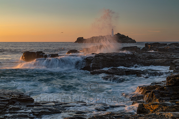 Sunset At Godrevy Lighthouse