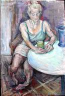 Sophie with mug of tea