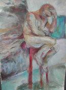 Depressed Man on stool