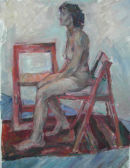 Female nude with 2 chairs.