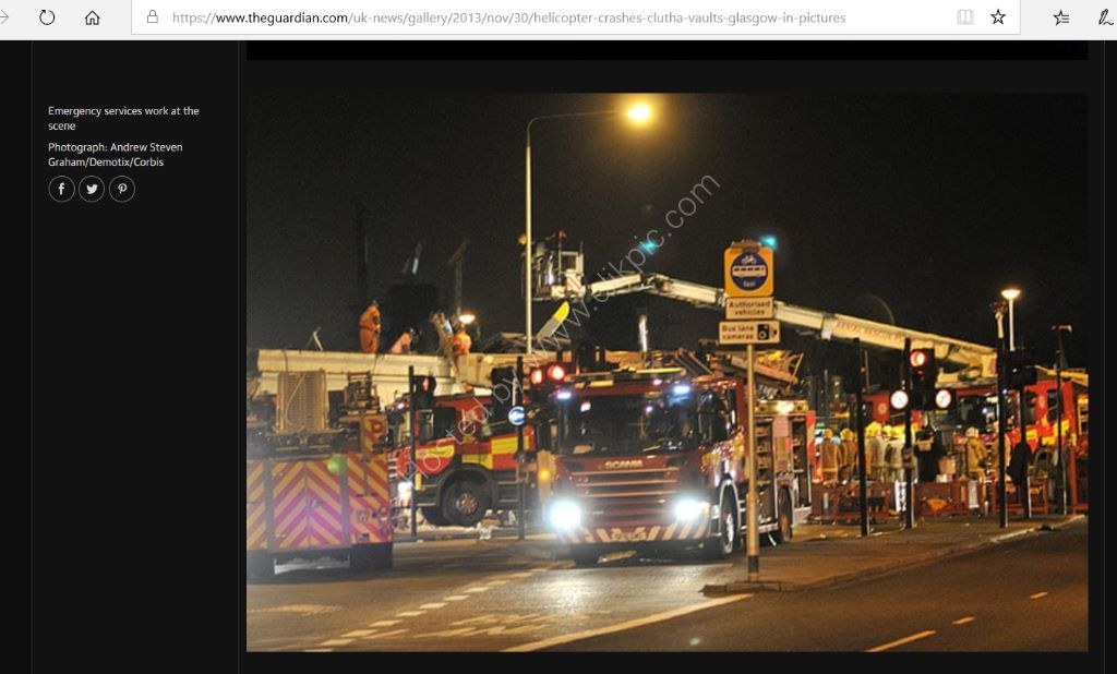 Image used in the Guardian of a tragic accident when a helicopter crashed in to a local bar, The Clutha.
