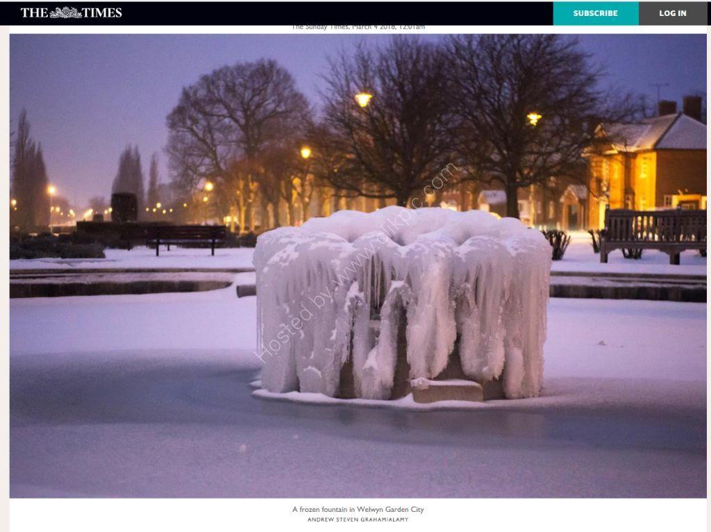 Frozen fountain in Welwyn Garden City used online by the Times.