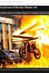 """Motorbike leaping through fire used as """"sport pic of day"""" in the Guardian. This one has been used in many other publications too."""