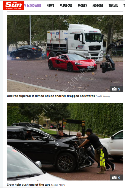 Two images of the filming of Transformers used in  the Sun.