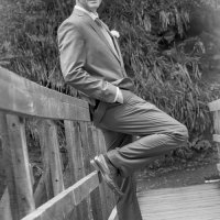 Groom in Black And White