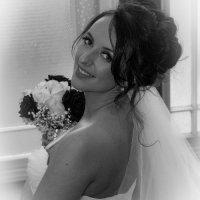 Black and white bride shot