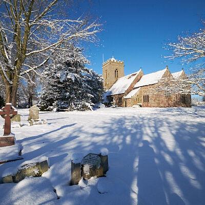 Snow Scene in Churchyard