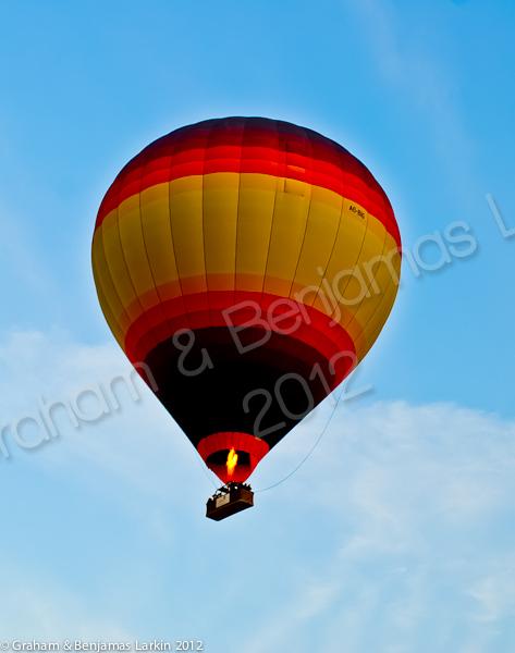 Balloons in the sky over the desert in Dubai