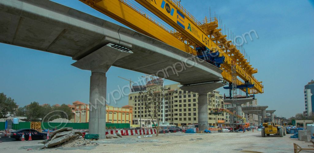 Launching Gantry on its way to Healthcare City Station in the distance