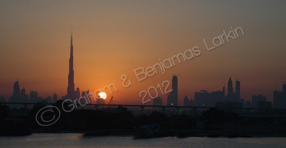 View across the Dubai creek at Sunset