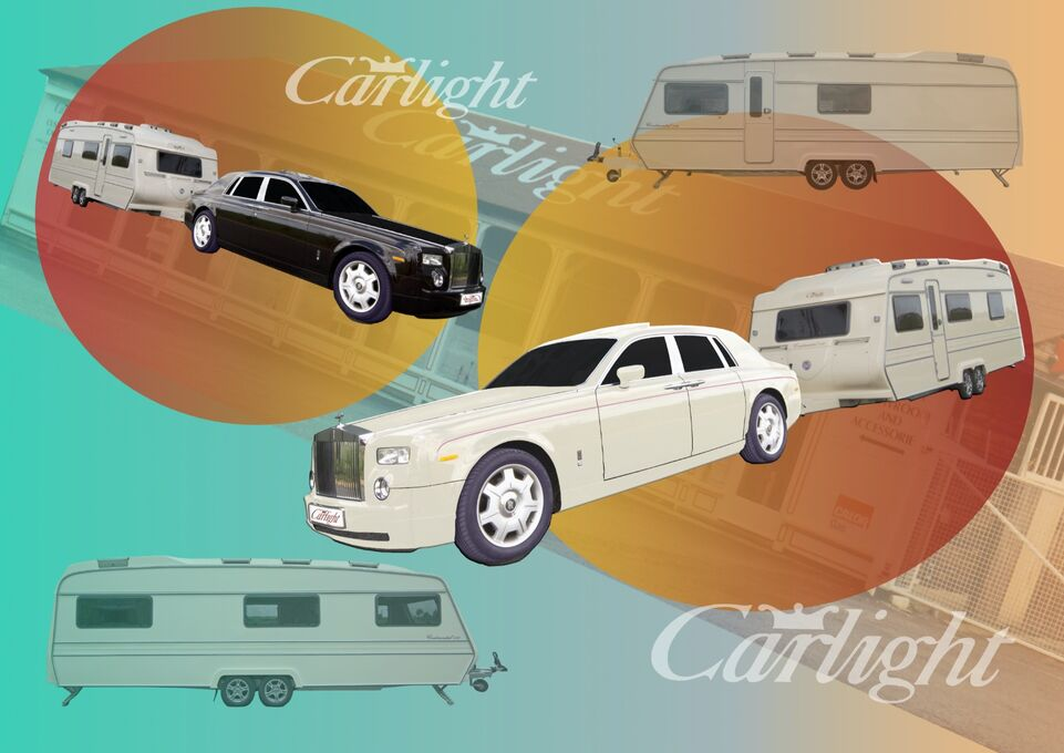 Collage Carlight Caravan and Rolls Royce