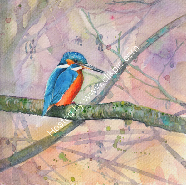 A kingfisher on a branch, pink and yellow background, bird art