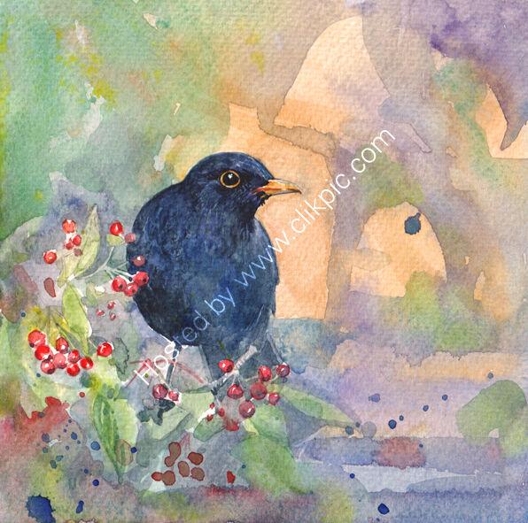 A Blackbird on red berries, bird art