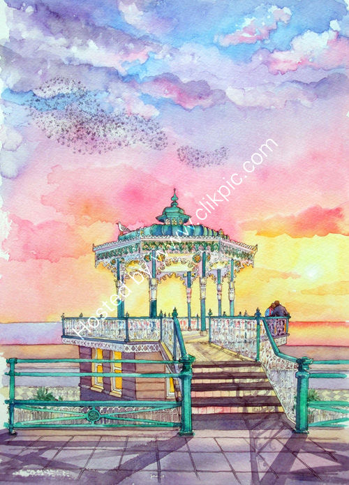 Brighton Bandstand with murmuration and couple watching the sunset