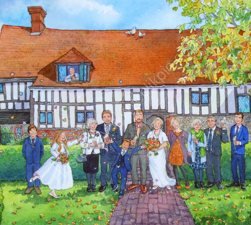 Wedding party at Anne of Cleves House, Lewes