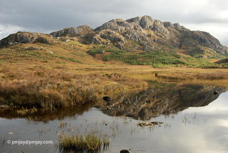 Meall Lochan a' Chleirich reflected in Am Faur Loch