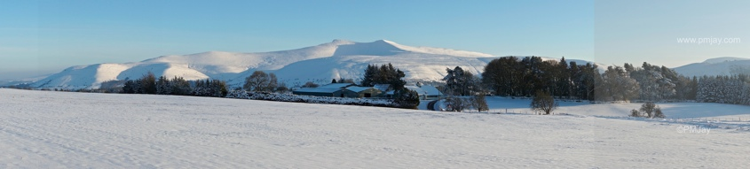 Mynydd Illtud panorama showing Pen y fan and associated ridge-line leading east towards The Black Mountains