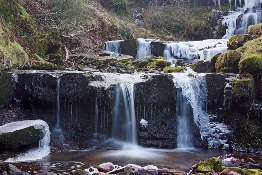 A small waterfall almost frozen over at Blaen y Glyn