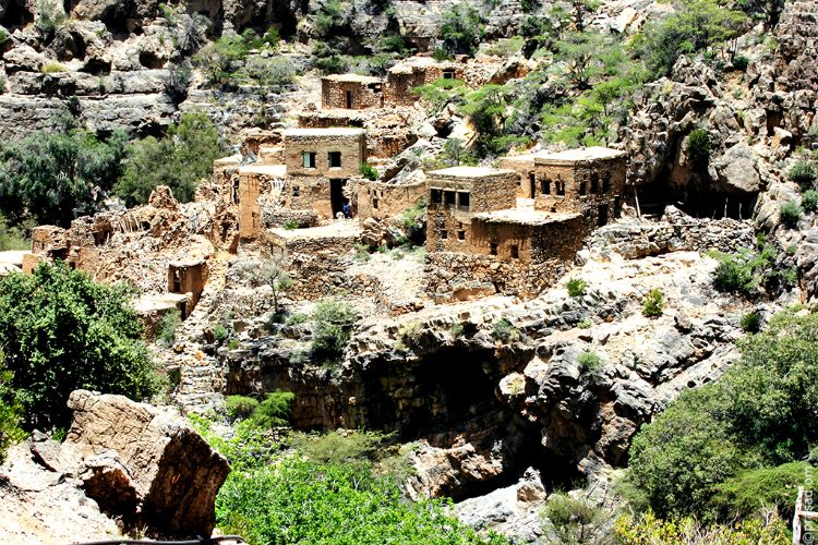 The abandoned stone village in Wadi Bani Habib
