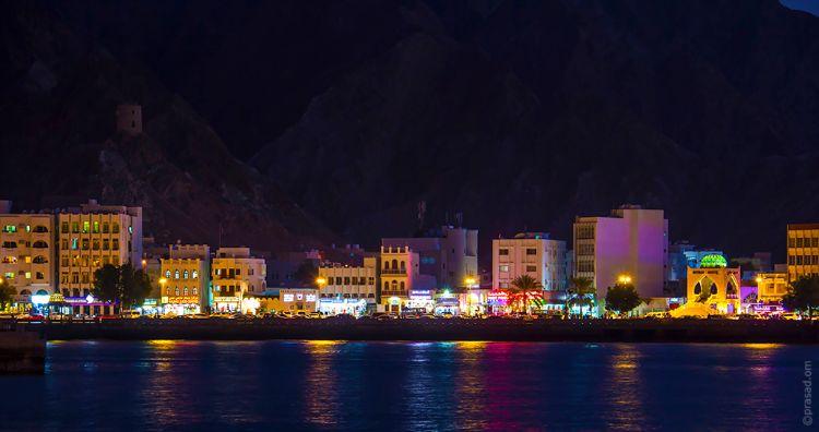View of Muttrah Corniche at night