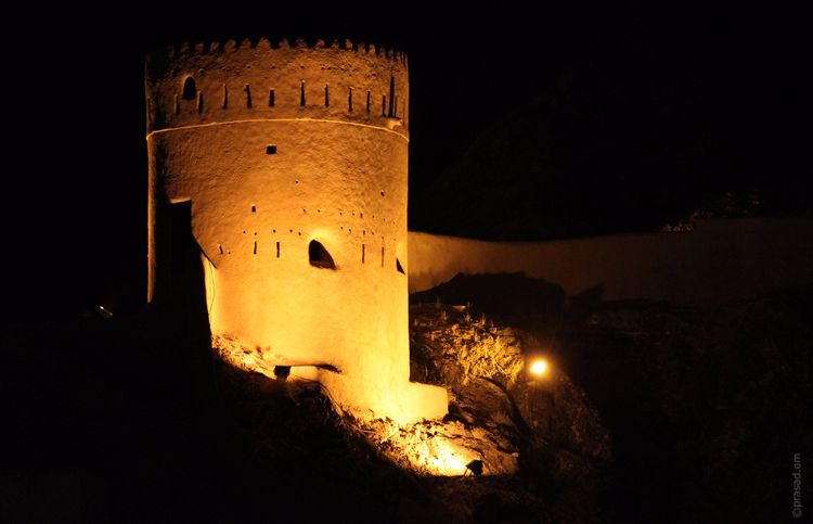 Watch Towers in Muscat illuminated