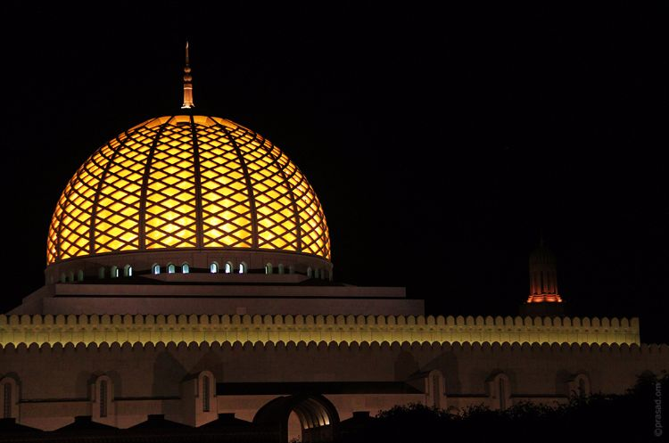 Illuminated dome of the Sultan Qaboos Grand Mosque