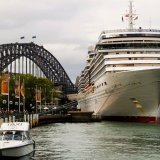 Mighty ship alongside might Harbour Bridge Sydney