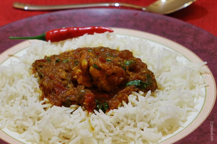 Prawns Curry with white rice