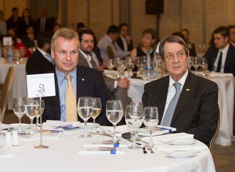 Rainer Pratl with His Excellency Nicos Anastasiades, President of the Republic of Cyprus at an event in Nicosia