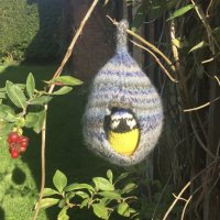 Pink House Arts  knitted blue tit and felted nest