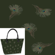 Floating Peacock Feathers Tote