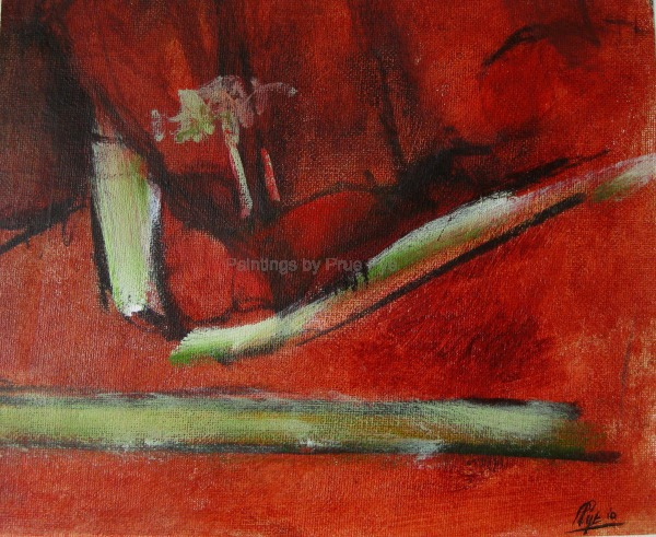 Abstract in Red with Charcoal - SOLD
