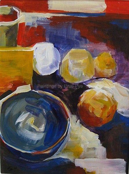 Blue Ceramic Bowl with Citrus
