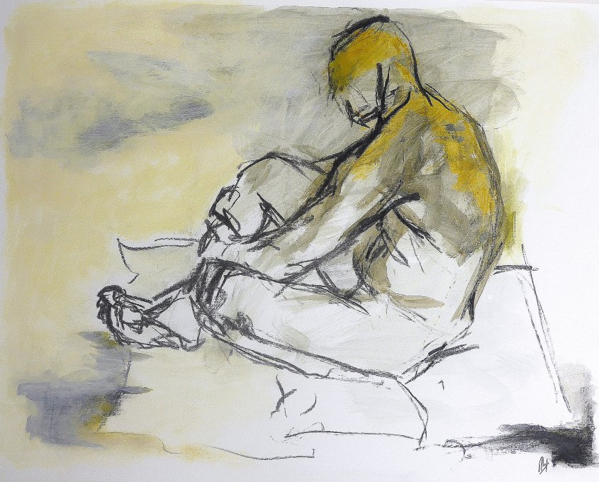 Man Seated on Floor - SOLD