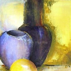 Purple Vase with Yellow Sphere