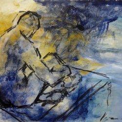 Seated Man - Dark Blues